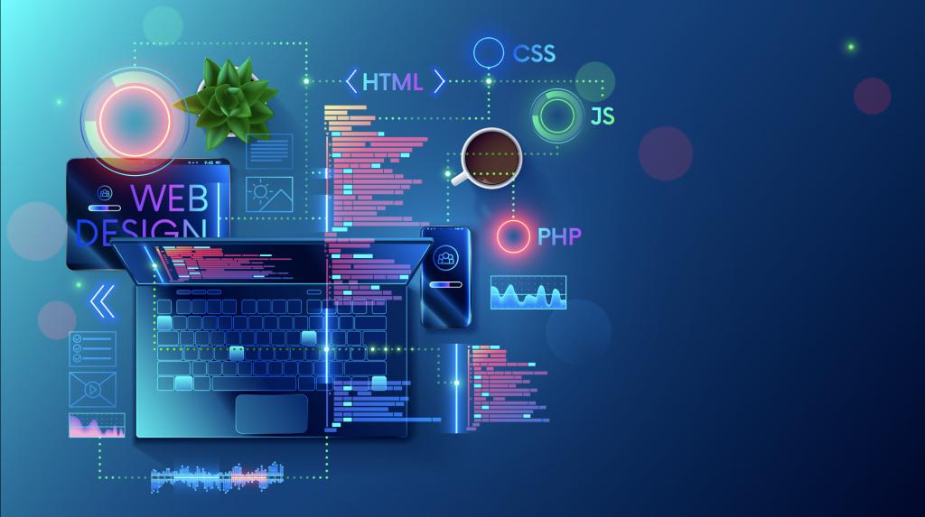 Website Design vs Website Development graphic illustrating components of building a custom website
